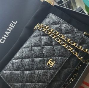CHANEL Caviar Quilted Wallet On Chain WOC
